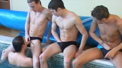 Poolside Gay Foursome Orgy Video