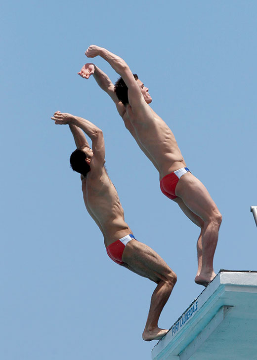 2 Divers in Red Speedos