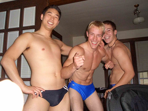 Three guys in speedos