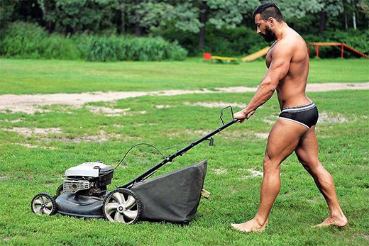 Mowing the Lawn in Speedos