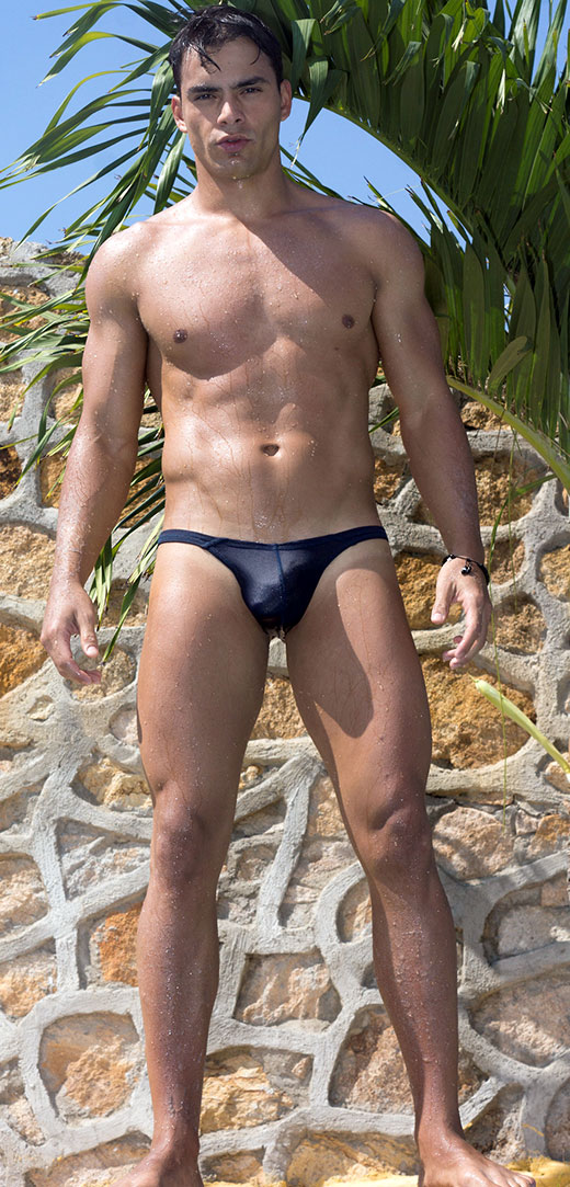 Wearing a tiny speedo