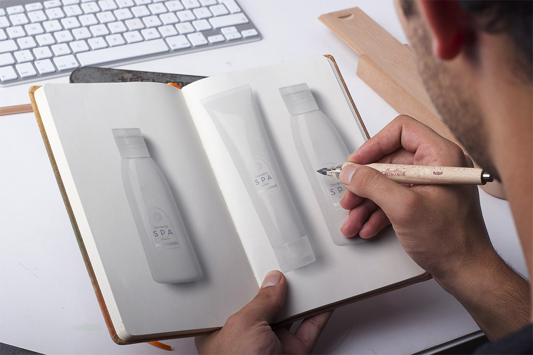 Package designer creating a package design