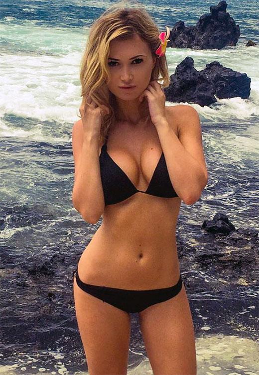 Model wearing a bikini swimsuit