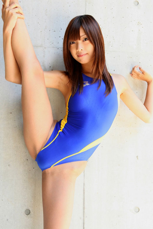 Stretching Asian Swimsuit