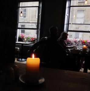 This cafe in Edinburgh seemed so fairytale-like with wonderful food and atmosphere, we didn't care how much the bottled water cost. Our niece Becca ordered coffee after dinner because she wanted our beautiful moment to last longer.