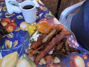 Jerry's brunch choices. I guess lots of bacon helps you to forget car troubles.