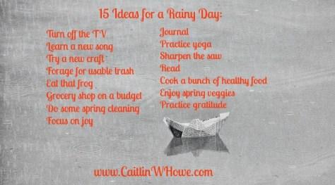 15 ideas for a rainy day diagram list