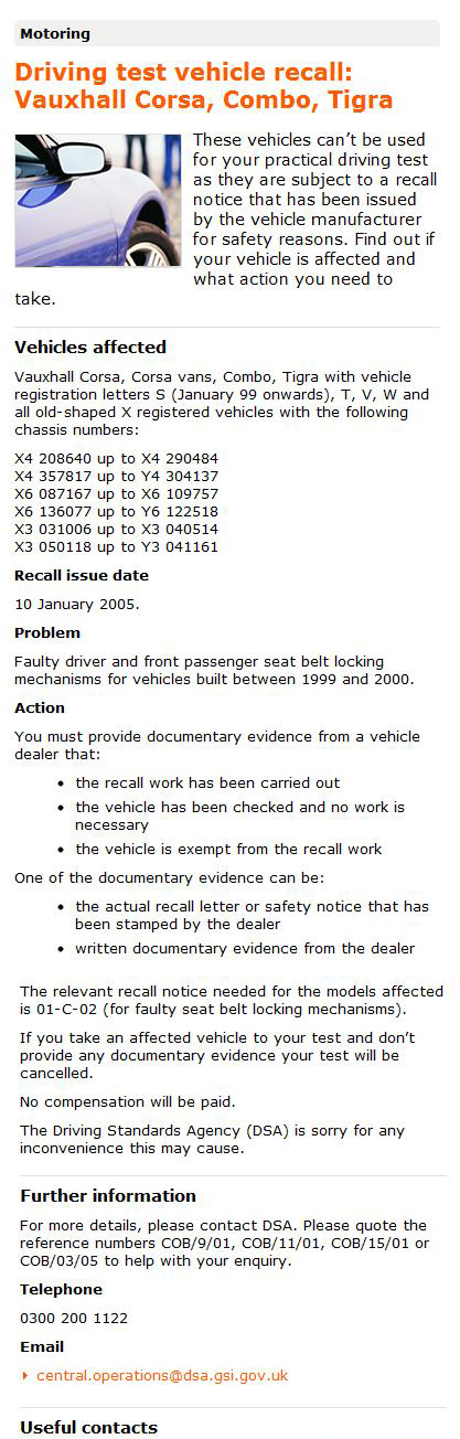 Vehicle Recall DSA Driving Test