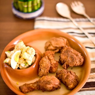 Low Carb Fried Chicken with Island Potato Salad