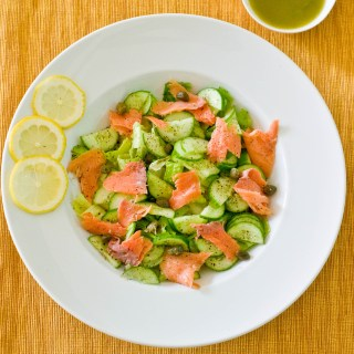 Salad as a Meal- Smoked Salmon, Capers & Cucumbers with a Lemon Dill Vinaigrette