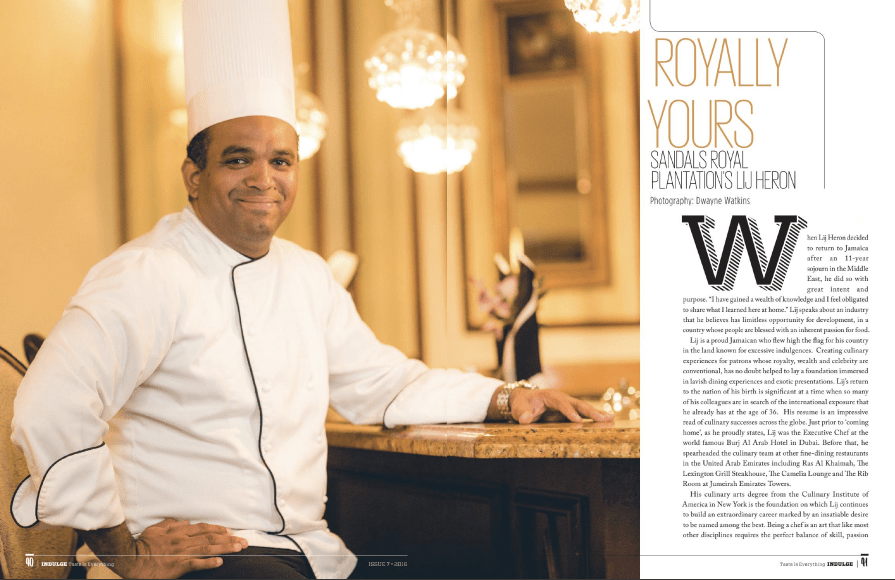 portrait of Sandals Royal Executive Chef Lij Heron feature in Indulge Magazine Chef Lij is featured in Indulge Magazine