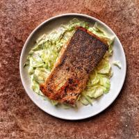 Easy Za'atar Crusted Pan Seared Salmon with lettuce
