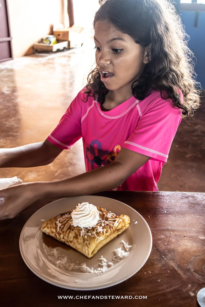 Apple Cinnamon Caramel Crepe with Coconut at Aruba's Ostrich Farm Savanna restaurant
