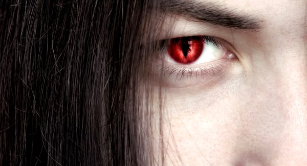 Red-eyed vampire represents relationship issues created by emotional vampires.