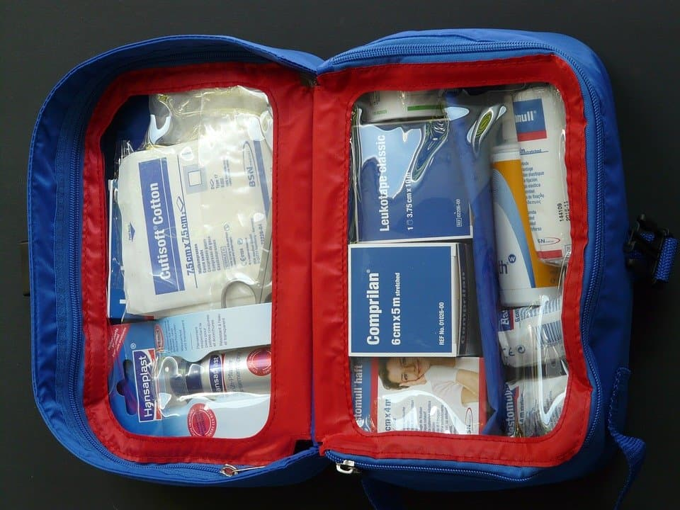 Inside of a travel First Aid Kit