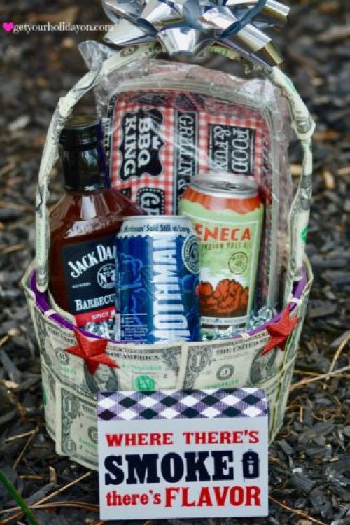 Hello, Father's Day Gift Basket, Easter Gift Basket Idea, Birthday Gift Basket Idea, or other celebration idea with this money gift basket from inspireandmake. This idea will be sure to please any man or woman who loves money and beer.