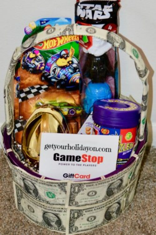 Child, Teen or Tween Money Gift Basket Idea for an Easter idea that will be sure to please any young man that loves money or extras. This idea could be used for a birthday gift idea or for another celebration as well.