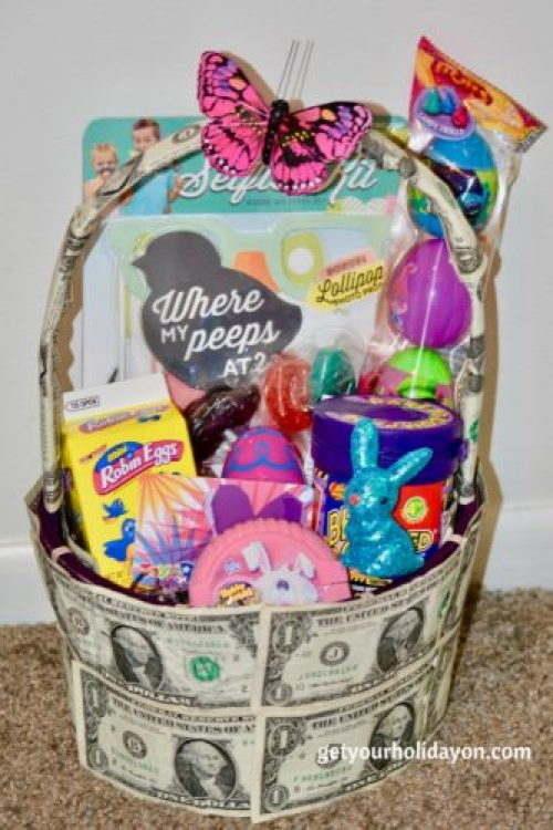 A Creative and Unique take on a Tween or Teen Easter Gift Basket. It's a unique money gift basket that will be sure to please any young lady that loves money and fun items. This basket idea could be used for Easter, a birthday, graduation, or another celebration idea.
