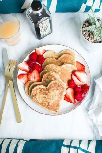 A Healthy Pancake breakfast full of love for Mother's Day.