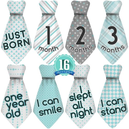 Stick'Nsnap (TM) 16 Baby Monthly Necktie Onesie Stickers