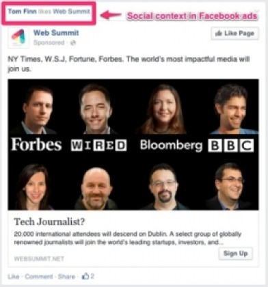 Social context in Facebook ads