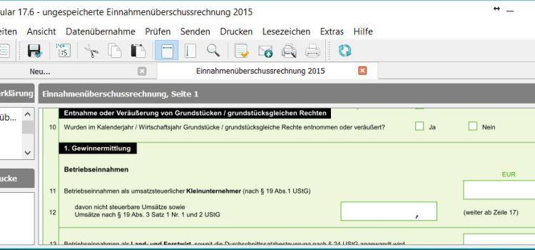 Lexware EÜR Formular Seite 1 Zeilen 11-12: Betriebseinnahmen als umsatzsteuerlicher Kleinunternehmer (nach § 19 Abs. 1 UStG)