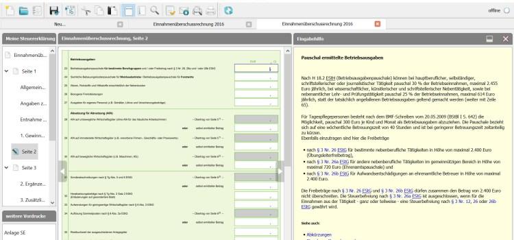 BMF EÜR Formular Seite 2 Zeile  23-24: Betriebs- und Bebauungskostenpauschale für bestimmte Berufsgruppen/Weinbaubetriebe oder Forstwirte