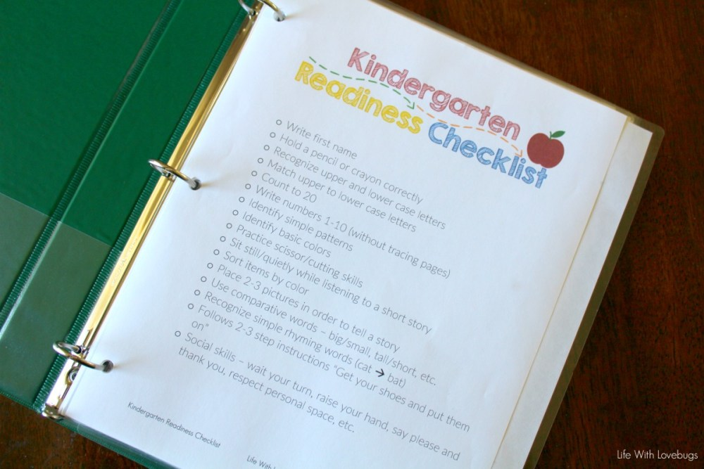 Getting Ready for Kindergarten - Printable Checklist