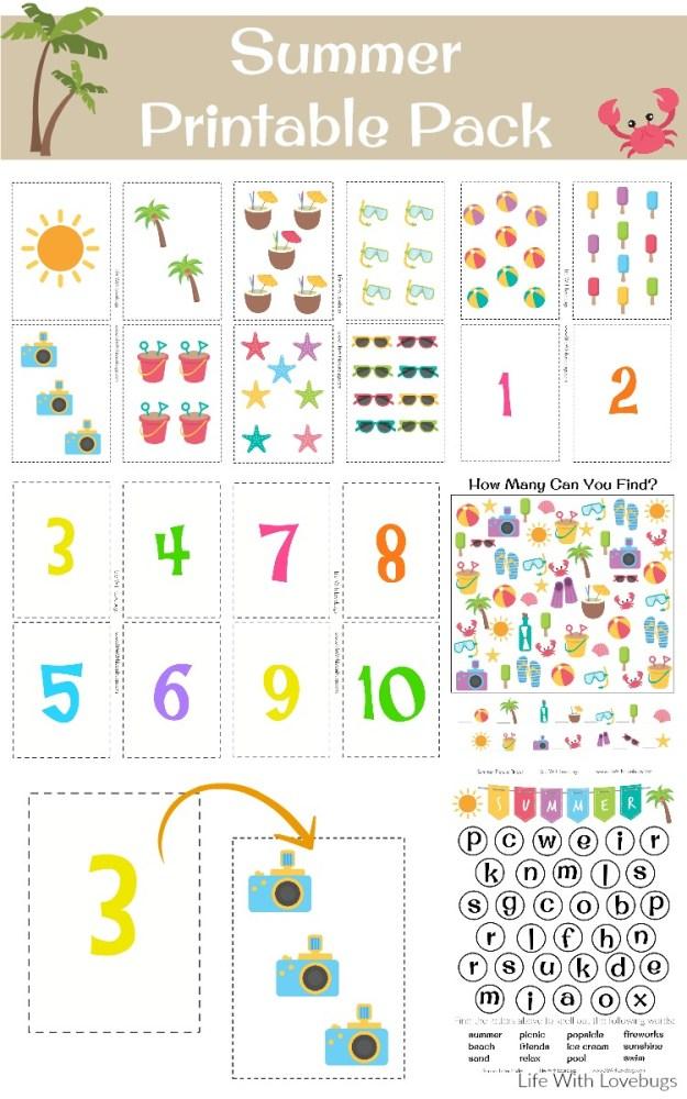 Summer Printable Activity Sheets