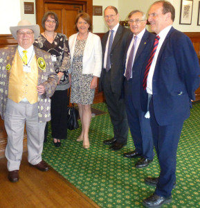 Group photo from left to right  -- Howling, Lisa Robins (Longdog brewery), Maria Miller, James Arbuthnot, Sir Gerald Howarth and Simon Hughes.
