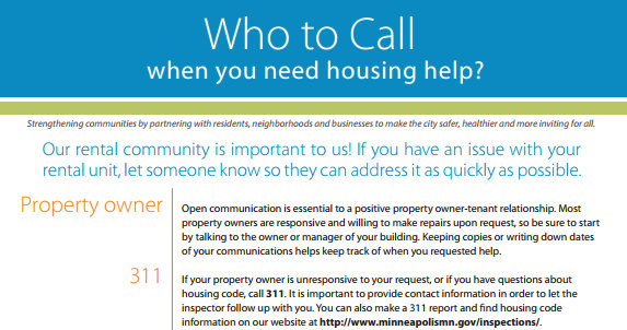 Minneapolis 311 Poster U2013 Who To Call Housing Help Poster
