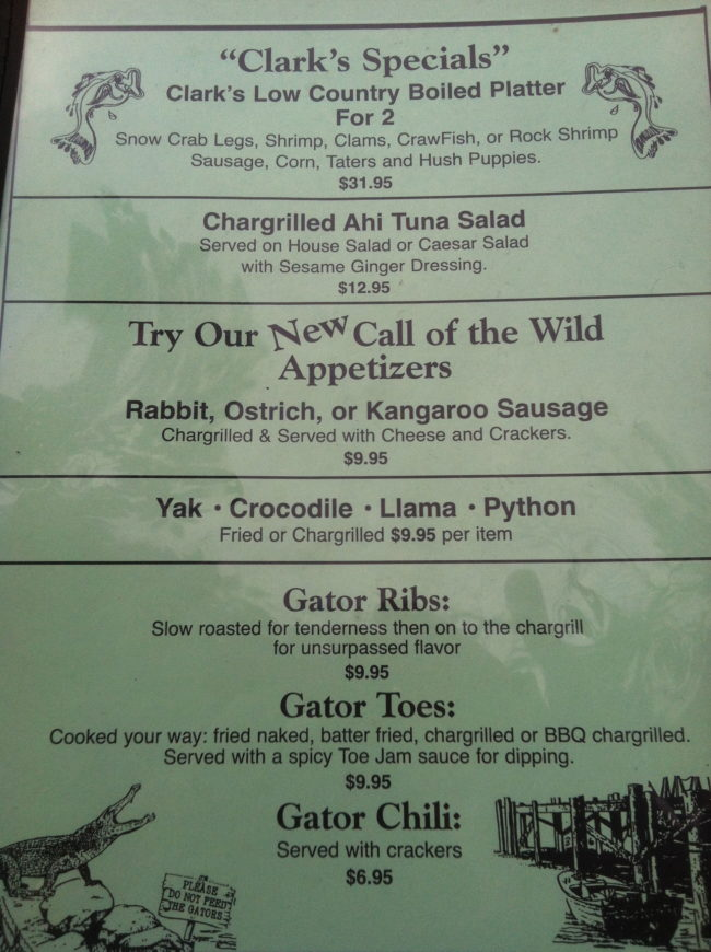 try exotic foods at Clark's Fish Camp in Jacksonville FL
