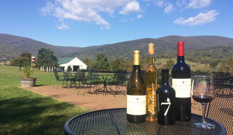 beautiful view of mountains from King Family Vineyards in Crozet VA