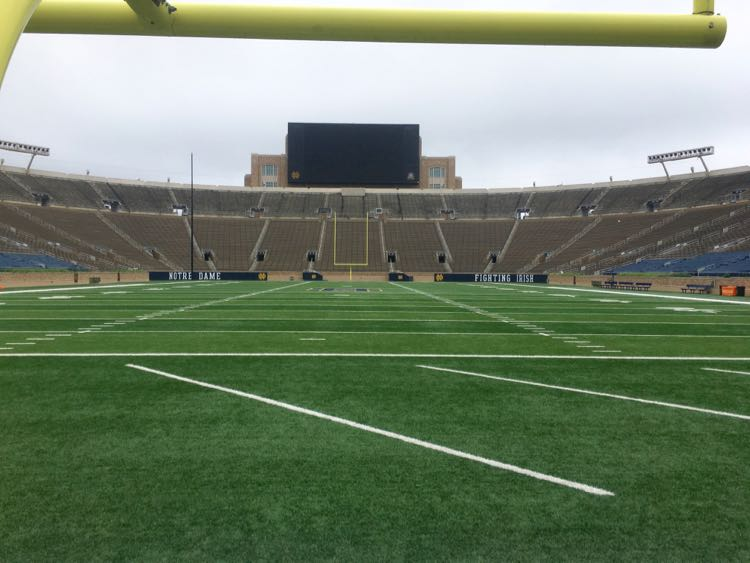 view from the Notre Dame Stadium tunnel and end zone