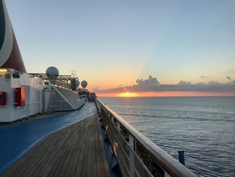 Carnival Cruise tips: exercise and enjoy the sunset on the Carnival Freedom walking track