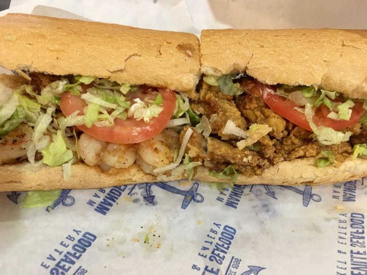 amazing shrimp and oyster po' boy at Mandeville Seafood in Louisiana Northshore