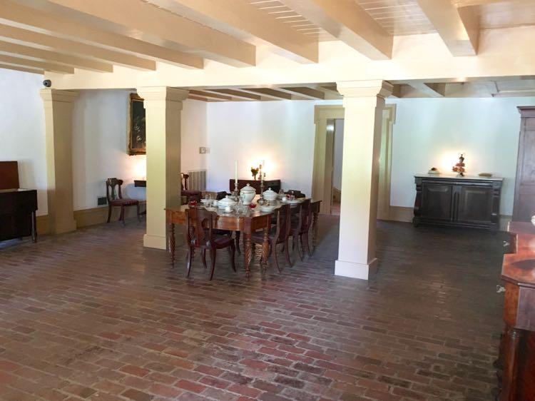 dining area of ground level of Destrehan Plantation