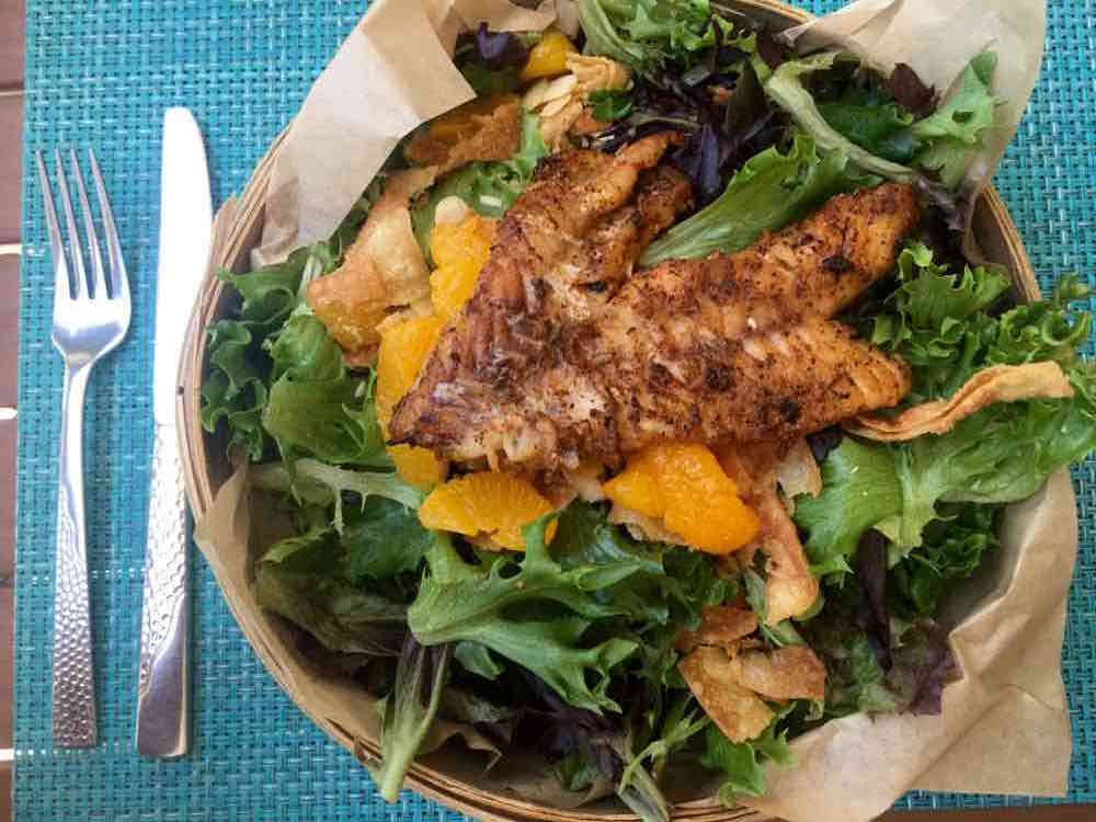 blackened grouper salad at the Harbourside Bar and Grill on Captiva Island FL