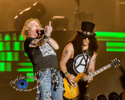 Axl Rose and Slash of Guns N' Roses performing in Saint Louis Thursday. Photo by Sean Derrick/Thyrd Eye Photography