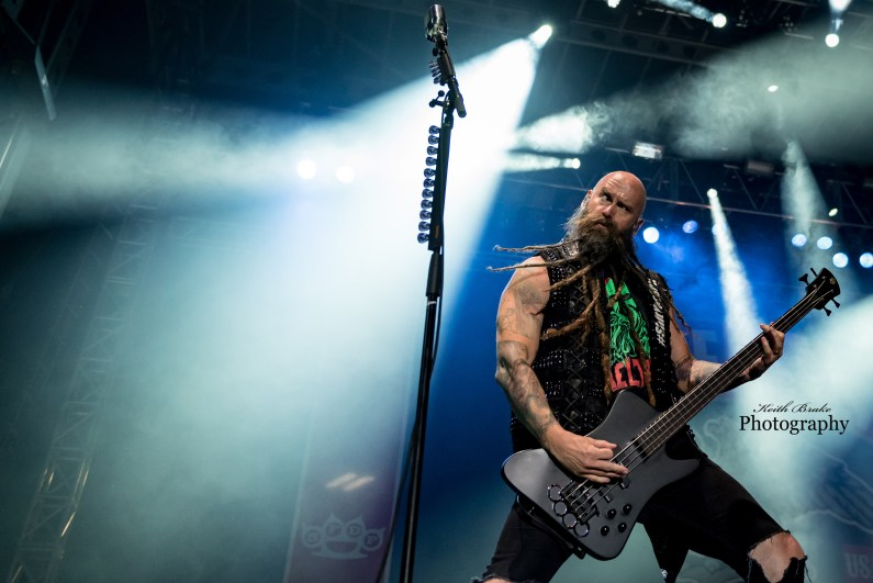 Chris Kael of Five Finger Death Punch at Moonstock 2017. Photo by Keith Brake Photography.
