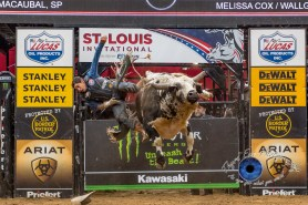 Alex Marcilio competing in the PBR Saint Louis Invitational. Photo by Sean Derrick/Thyrd Eye Photography.