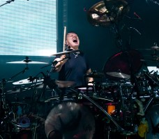 Ray Luzier of Korn performing at Hollywood Casino Amphitheatre Sunday. Photo by Sean Derrick/Thyrd Eye Photography.