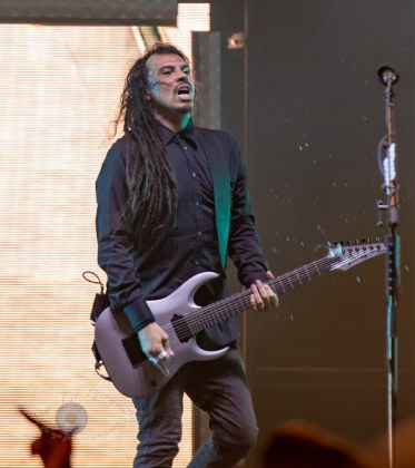 James Shaffer of Korn performing at Hollywood Casino Amphitheatre Sunday. Photo by Sean Derrick/Thyrd Eye Photography.