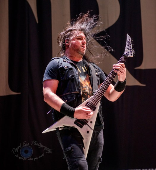 Corey Beaulieu of Trivium performing at Hollywood Casino Amphitheatre in St. Louis. Photo by Sean Derrick/Thyrd Eye Photography.