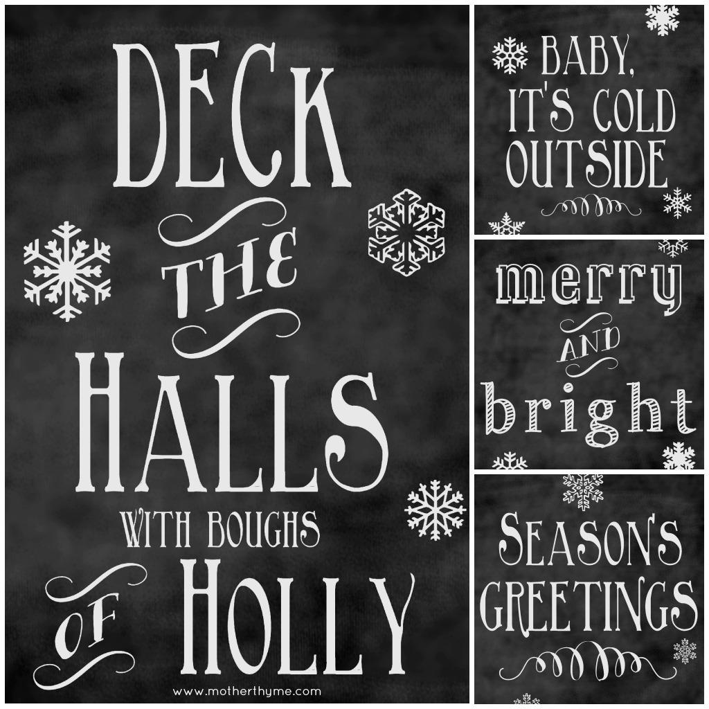 Free Christmas Chalkboard Printables | Mother Thyme