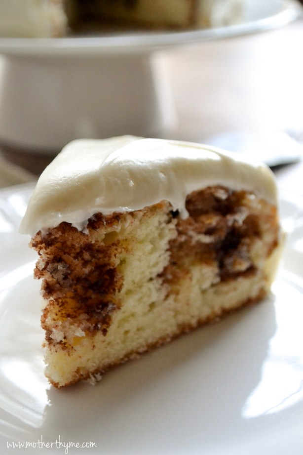 Cinnamon Roll Cake With Cream Cheese Frosting Mother Thyme