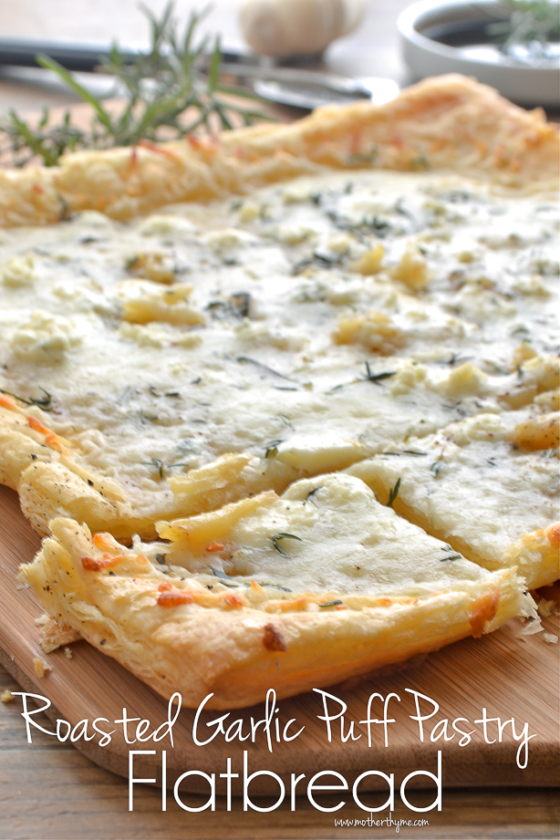 Roasted Garlic Puff Pastry Flatbread from www.motherthyme.com
