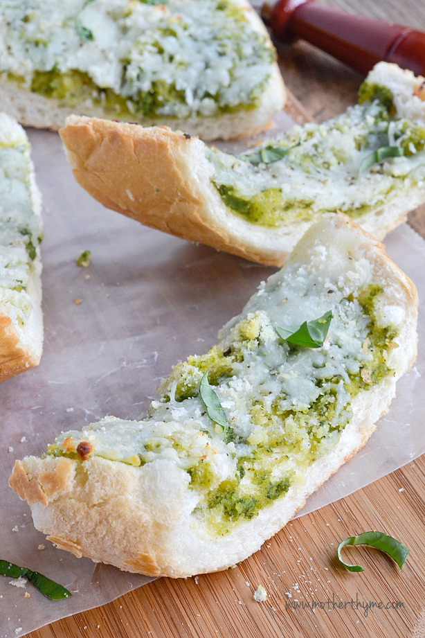 Cheesy Basil Pesto Garlic Bread | Mother Thyme