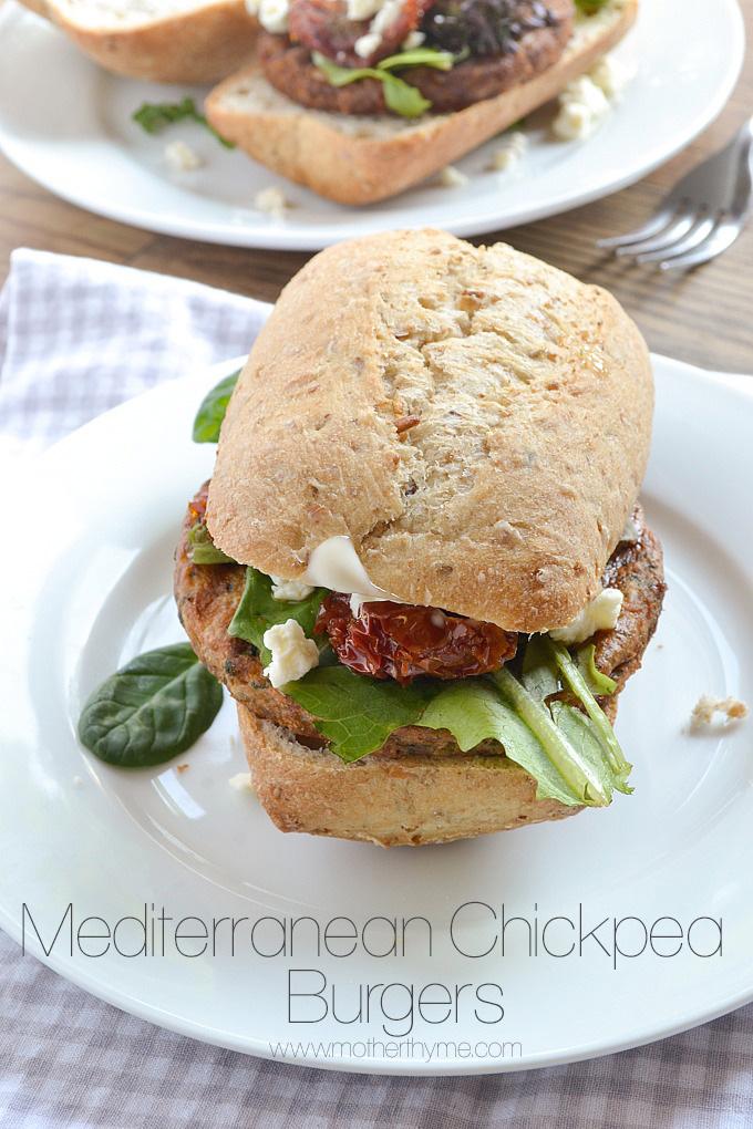 Mediterranean Chickpea Burgers   Mother Thyme
