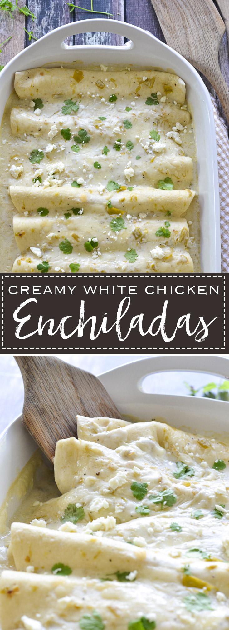 Creamy White Chicken Enchiladas   www.motherthyme.com